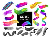 Set of colorful and black and white brush strokes oil or acrylic paint design element. Creative concept of digital painted color s royalty free illustration