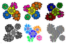 Set of Floral Patterns Hand Drawn. Set of colorful, black and white, water colored and embossed floral patterns that were hand drawn Royalty Free Stock Photo