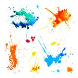 Set of colorful blots on white background. Watercolor splah paint royalty free illustration