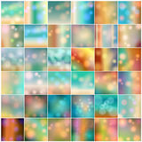 Set of 36 colorful blurred autumn light leak backgrounds. Vector large set of 36 vintage, retro, abstract, colorful, blurred, defocused hipster autumn Stock Image