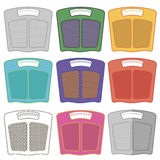 Set of Colorful Body Weigh Scales Stock Images
