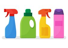 Set of colorful bottles cleaning agent. Vector illustration stock illustration