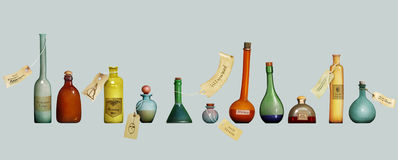 Set of colorful  bottles Stock Photos