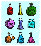 Set of colorful bottles with spirits hand-drawn on a blue background. Illustration Stock Image