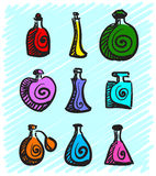 Set of colorful bottles with spirits hand-drawn on a blue background. Vector Stock Image