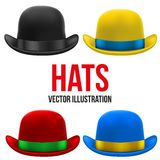 Set of colorful bowler hats. Vector Illustration. Royalty Free Stock Photography