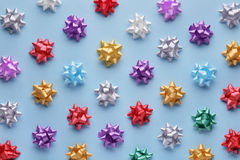 Set of colorful bows on blue Stock Photos