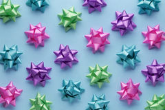 Set of colorful bows on blue Stock Photo