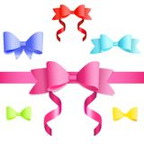 Set of colorful bows and ribbons Stock Image