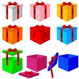 Set of colorful box christmas gifts. Vector Stock Photos