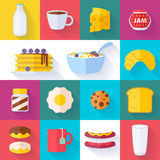 Set of colorful breakfast icons Royalty Free Stock Photos