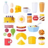 Set of colorful breakfast icons. Stock Photos