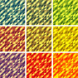 Set Colorful 9 Bright Geometric Backgrounds. Stock Photography