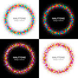 Set of Colorful Bright Halftone Circles Stock Images