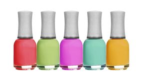 Set of colorful bright nail polishes isolated on white Stock Images