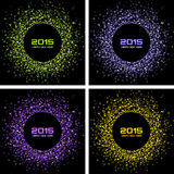 Set of  Colorful Bright New Year 2015 Backgrounds Royalty Free Stock Images