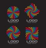 Set of Colorful Bright Rainbow Spiral Logo Stock Photo