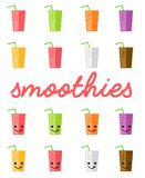 Set of Colorful and Bright Smoothies and Milkshakes Royalty Free Stock Photos