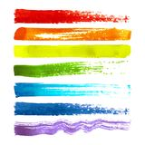 Set of colorful brush strokes. Set of colorful textured watercolor brush strokes isolated on white background. Rainbow background vector illustration