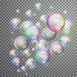 Set Colorful Bubble In Vector. Isolated Soap Water Bubbles Collection Stock Photos