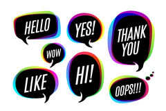 Set of colorful bubbles, icons or cloud talk with text. Hello, Yes, Wow, Like, Hi, Thank You, Oops. Bubbles different shapes for web, social network, message Stock Image