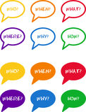 Colorful bubbles with questions. This is a set of colorful bubbles with typical questions Royalty Free Illustration