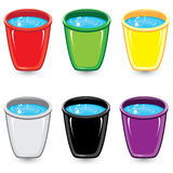 Set of colorful buckets of soapy water Stock Image