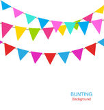 Set Colorful Buntings Flags Garlands for Holiday Stock Photos