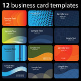 Set of Colorful Business Card Backgrounds. 12 Colorful Business Cards with Abstract Designs - Illustration in Freely Scalable and Editable Vector Format Royalty Free Stock Photography