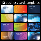 Set of Colorful Business Card Backgrounds. 12 Colorful Business Cards with Abstract Designs - Illustration in Freely Scalable and Editable Vector Format Royalty Free Stock Images