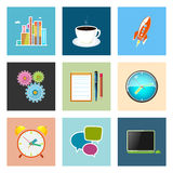 Set of Colorful Business Icons, Team Work. Set of Colorful Business Icons, Office Work, Team Work, Long Hours in the Office, Presentation and Discussion, Vector Royalty Free Stock Image