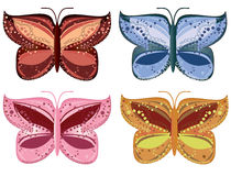 Set of colorful butterflies. Illustrated set of four colorful butterflies with patterned wings, isolated on white background Stock Photography