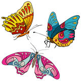 Set of colorful butterflies doodle Royalty Free Stock Photography
