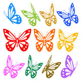 Set of colorful butterflies silhouettes Stock Photos
