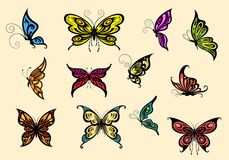 Set of colorful butterflyes Stock Photos