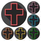 Set of colorful buttons icons with cross, with long shadow Stock Images