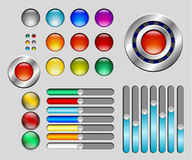 Set of colorful buttons and sliders Royalty Free Stock Images