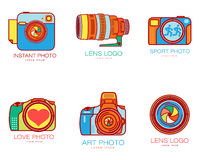 Set of colorful camera logo templates Royalty Free Stock Photo