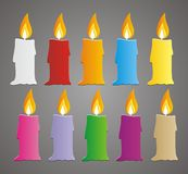 Set of colorful candle vector Stock Image