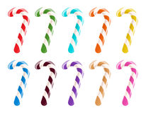 Set of colorful candy canes on white background. Christmas sweet treat Royalty Free Stock Photos