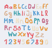 Set of colorful capital, lowercase letters alphabet with numbers and shadow on squared gray background.  stock illustration