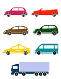 Set of colorful car icon Stock Photo