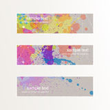 Set of colorful cards. Illustration of colorful splashes on different cards Stock Photography