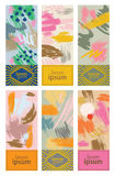 Set of colorful cards with abstract hand drawn textures. Design for packing, poster, card, invitation, brochure, flyer, label. Vector Royalty Free Stock Photography
