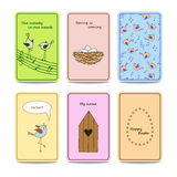 Set of 6 colorful cards with cute birds. Stock Photos