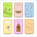 Set of 6 colorful cards with cute birds. Royalty Free Stock Photography
