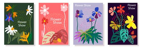 Set of colorful cards. Drawings with leaves, flowers and other botanical elements. Modern design for posters, covers, flyers vector illustration