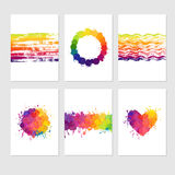 Set of colorful cards. With paint stains and splatters. Vector card templates with bright colors Royalty Free Stock Photography