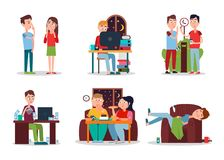 Set of Colorful Cards with People with Bad Habits. Vector illustration, eating and working at night men and woman, smoking and addicted to coffee Royalty Free Stock Photography