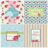 Set of Colorful Cards with Rose Elements Stock Photos